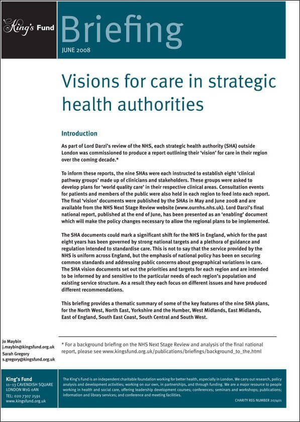 Visions for care in strategic health authorities report front cover