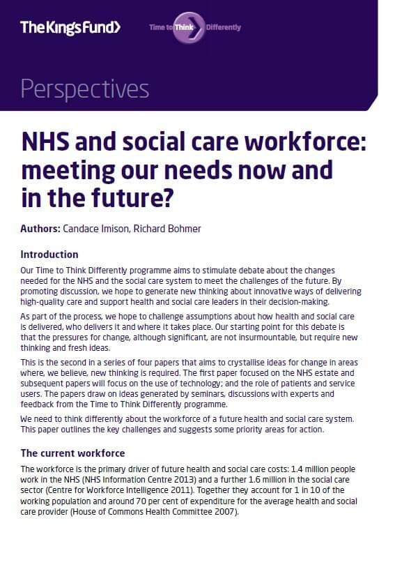 NHS and social care workfrce perspectives front cover