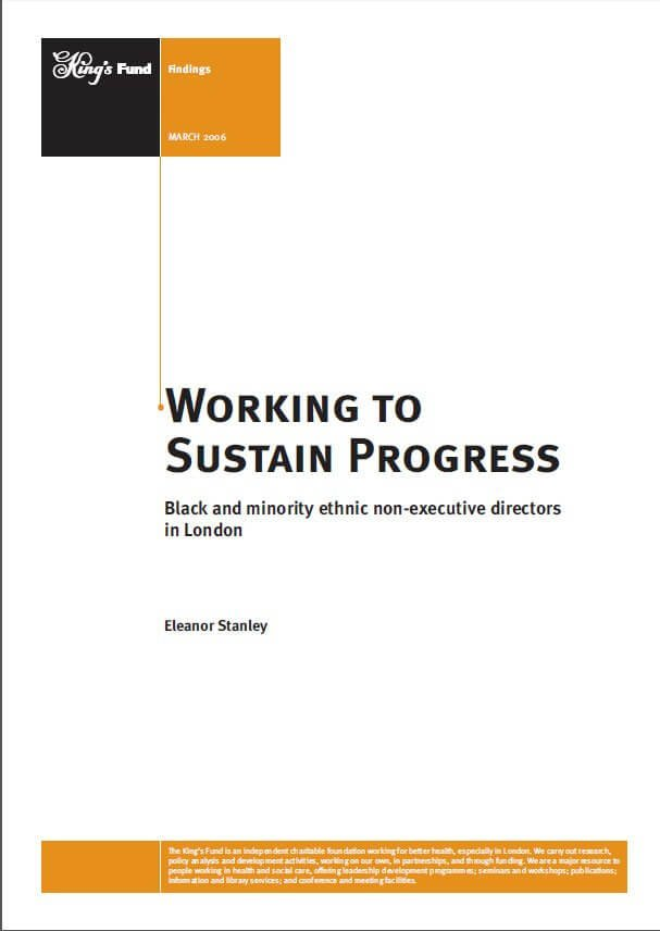 Working to sustain progress report front cover
