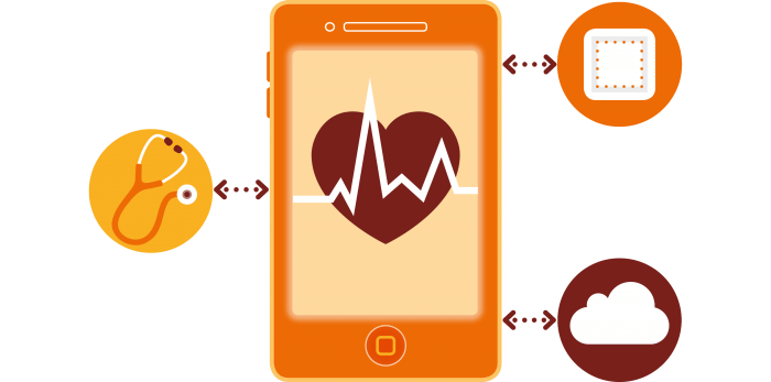 Illustration of a smartphone and icons relating to health