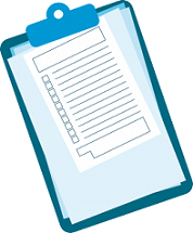 A clipboard with papers