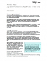 Age discrimination health and social care briefing cover