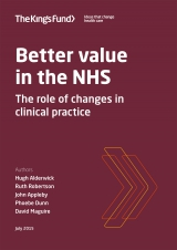 Better value in the NHS report cover