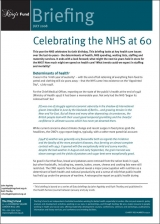 Celebrating the NHS at 60 briefing cover