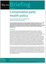 Conservative party health policy briefing cover