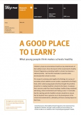 A good place to learn? What young people think makes schools healthy publication cover