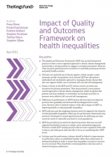 Impact of quality and outcomes framework in health inequalities publication cover