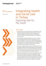 Integrating health and social care in Torbay publication cover