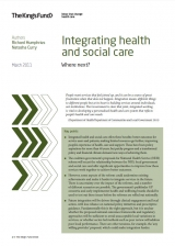 Integrating health and social care publication cover