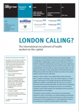 London calling? The international recruitment of health workers to the capital publication cover
