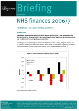 NHS finances 2006/7 briefing cover