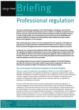 Professional regulation briefing cover