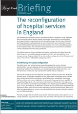 The reconfiguration of hospital services in England publication cover