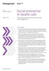 Social enterprise in health care publication cover