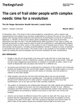 Front cover of The care of frail older people with complex needs: time for a revolution