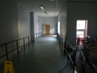 The corridor to the mortuary before the project