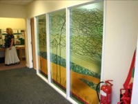 The commissioned glass wall