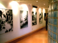 Lighting and artwork create an interested space