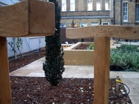 Resting posts accompany more traditional seating