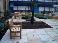 The courtyard is used by patients, visitors and staff