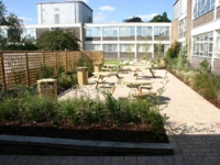 A large seating area in the new garden