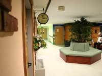 The newly decorated reception area