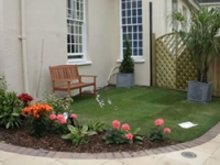 A quiet seating area in the garden