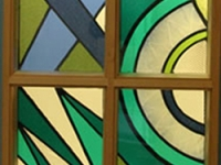 Stained glass is the focus of the design scheme