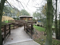 The walkway up to the Woodland Retreat