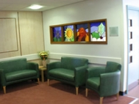 Stained glass now brightens up the seating area