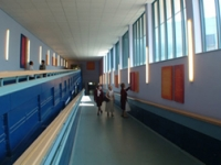 Colour and art have transformed the corridor
