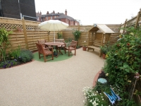 A pretty garden was created from two parking bays