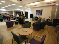 The waiting area is calm and ideal for older people with cognitive problems