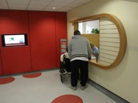 The reception desk is wheelchair accessible