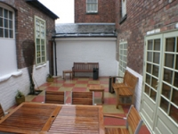 The outdoor seating area
