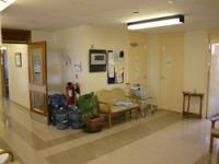 The original cramped reception area