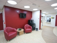 The space is welcoming to patients waiting for the clinic